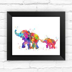Found it at Wayfair - Elephant Family Print Kids Contemporary Watercolor Framed Graphic Art