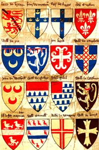 Family Coat of Arms - An early roll of arms belonging to the Society of Antiquaries of London.