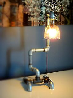 Industrial Pipe Lamp - Patron Tequila Bottle Steel Pipe Table Lamp