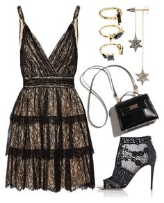 """""""Little Star"""" by joslynaurora on Polyvore featuring Alice + Olivia, Valentino, Noir Jewelry, Pumps, dress and Earring"""