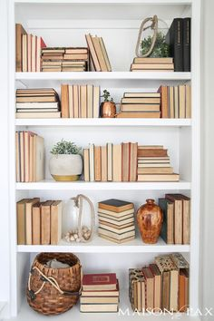 Home Decoration Rustic Bookshelf Styling Tips: Tips for styling any bookshelves no matter what you have on hand!Home Decoration Rustic Bookshelf Styling Tips: Tips for styling any bookshelves no matter what you have on hand! Styling Bookshelves, Decorating Bookshelves, Cool Bookshelves, Bookshelf Ideas, Organizing Bookshelves, Arranging Bookshelves, Bookcases, Books On Shelves, Living Room With Bookshelves