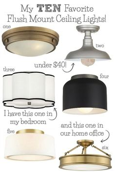 Looking for great flush mount ceiling lighting? Im sharing my ten favorites including some amazingly inexpensive finds! Such a helpful post to check out! - Semi Flush Ceiling Lights - Ideas of Semi Flush Ceiling Lights Low Ceiling Lighting, Semi Flush Ceiling Lights, Foyer Lighting, Flush Mount Lighting, Office Lighting, Lighting Ideas, Closet Lighting, Flush Mount Ceiling Fan, Open Ceiling