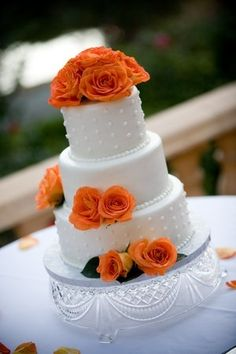 Simple wedding cake. White and Orange.