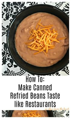 How to make a Can of Refried Beans Taste just like the Restaurant's. Make a can of refried beans taste like you're at your favorite restaurant! Mexican Refried Beans, Make Refried Beans, Canning Refried Beans, Best Refried Bean Recipe, Taco Bueno Refried Beans Recipe, Taco Meat In Crockpot, Refried Bean Burrito, Recipes With Refried Beans, Mexican Recipes