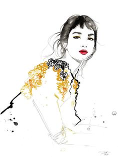 Sun print from original fashion illustration by Jessica