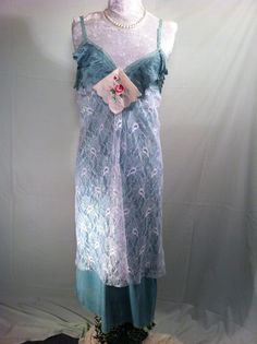 Upcycled Clothing  Boho Dress Small  Vintage Eco Slip by Intrigues, $129.99