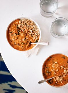 Photo source and directions @ Cookie and Kate Vegetarian West African Peanut Soup. Ingredients: • 6 cups low sodium vegetable broth • 1 medium red onion, chopped • 2 tablespoons peeled and minced...