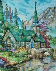 I admit, I am a landscapes lover ever since. And it's a thrill that I have this book.  Image from Posh Coloring Book By Thomas Kinkade Medium used:  Colored Pencils #colouring  #doverpublications  #adultcoloring #coloringmasterpiece #inktense  #colouringforgrownups  #fabercastell #thomaskinkade #coloringbooksforgrownups #zackinkade #desenhoscolorir