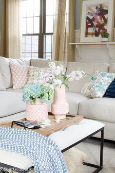 Blue + Pink Living Room Decorating Ideas coffee table tray vase floral