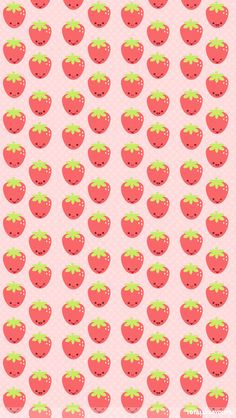 Kawaii Strawberries Wallpaper for iPhone Wallpaper Kawaii, Sf Wallpaper, Cute Wallpaper For Phone, Summer Wallpaper, Trendy Wallpaper, Pattern Wallpaper, Iphone Wallpaper, Wallpaper Ideas, Mobile Wallpaper