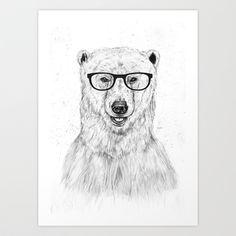 Geek bear › Art Print by Balázs Solti