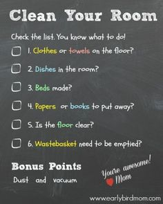 Do your kids know what you mean when you tell them to clean their rooms? Help them make bedroom cleaning a part of their daily routines with a helpful checklist. DIY chore charts like this help develop independence in children.