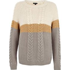 Grey lurex stripe cable knit jumper from River Island Clothing. Ladies Knitwear, Womens Knitwear, River Island Fashion, High Street Shops, Cable Knit Jumper, Ski Season, Fashion Outfits, Fashion Ideas, Fashion Trends