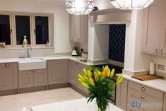 An Innova Norton Cashmere Shaker Kitchen Open Plan Kitchen Living Room, Real Kitchen, Kitchen And Bath, Diy Kitchen, Kitchen Ideas, Cashmere Shaker Kitchen, B&q Kitchens, Contemporary Kitchen Design, Kitchen Pictures