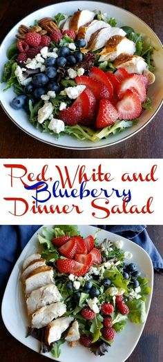 This dinner salad is perfect for Memorial Day, the 4th or July or any day! It is full of berries, cheese, greens, and chicken. There is also a homemade dressing recipe if you'd like! #SundaySupper