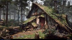 How to Create a Forest Cabin Scene in Forest Cabin, Forest House, Fantasy Forest, Fantasy House, Woodlands Cottage, Viking House, Different Aesthetics, Old Abandoned Houses, Vintage Cabin
