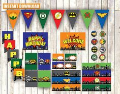 Justice League Party Decorations Instant Download Printable