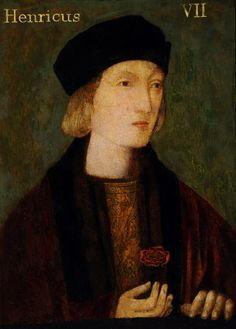 King Henry VII (1457–1509)  Portrait by British (English) School. Henry's typical iconography is used here, from the rich fur trim on his robes, to the quintessential inclusion of the Tudor rose, which he holds in his delicate and regal hand. Similar to the portrait of Henry VIII in the same collection at Hardwick, this is one of many copies from an original, now lost.
