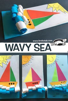 "WAVY SEA: pair with ""How it feels to be a boat"" book Things that Go - curled paper wavy sea for a boat Wavy sea for Jonah and the Whale. children activities, more than 2000 coloring pages Jesus calms the storm Story of when Jesus calmed the seas, or w Daycare Crafts, Sunday School Crafts, Toddler Crafts, Crafts For Kids, Craft Kids, Kindergarten Art, Preschool Crafts, Preschool Transportation Crafts, Transportation Unit"