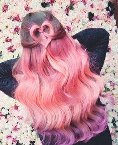 Colorful rainbow hair & love