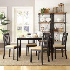 HomeVance 5-piece Larson Slat Back Dining Set, Black