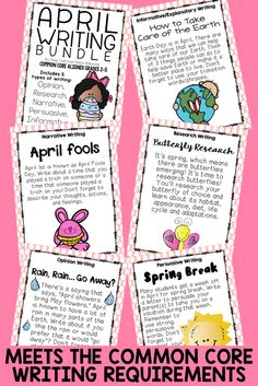 April Writing Bundle- Monthly themed writing that hits ALL of the common core writing requirements-- grades 2-5! Engaging! Includes posters, key words, graphic organizers, and writing templates!