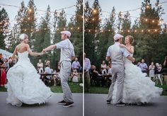 Matt Shumate Photography at The Ridge at Rivermere outdoor summer Wedding reception bride and groom first dance outside under white christmas lights