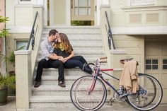 Downtown San Francisco Engagement, bikes, trench coat, polka dots, green scarf, victorian houses