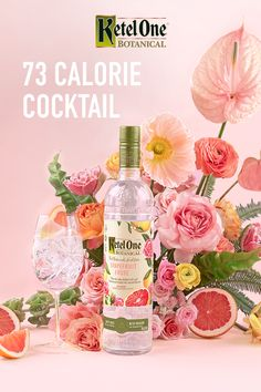 fewer calories than a glass of white wine. (And delicious!) To make a Botanical Spritz, mix oz Ketel One Botanical Grapefruit & Rose with 3 oz Soda Water. Serve in a wine glass with ice and your choice of fragrant herbs, crisp citrus or other fresh fruit. Wild Rose Detox, Grolet, Alcoholic Drinks, Cocktails, Beverages, Juicing For Health, Detox Recipes, Detox Foods, Drink Recipes