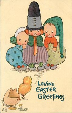 LOVING EASTER GREETINGS  three children watch newly hatched chick