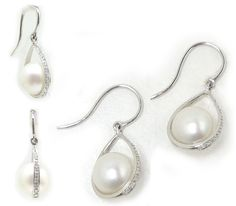 White South Sea Pearl Earrings in 18k White Gold with Diamonds