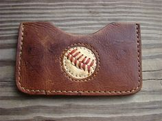 NEW DESIGN!!!!! Old Baseball Glove Wallet with baseball stitches imbedded in leather. Will hold 6 cards