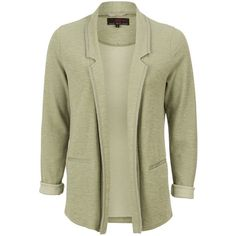 Light Green Roll Sleeve Jersey Blazer (665 RUB) ❤ liked on Polyvore featuring outerwear, jackets, blazers, blazer jacket, polka dot jersey, green jersey, open front blazer and open front jacket