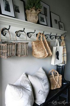 how to fake a mudroom, need a mudroom but only have a hallway? this mudroom solution is perfect with a bench, coat hooks on crown molding, and a gallery wall shelf. Perfect example of how to fake a mudroom. Diy Casa, Floating Shelves Diy, Floating Stairs, Home Living, Living Room, Home Organization, Home Projects, Home Improvement, Sweet Home