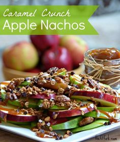 Caramel Crunch Apple Nachos - slices of crisp apple topped with caramel, granola and chocolate chips! A healthier treat for dessert that kids will love.