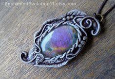 Labradorite Necklace Woodland Clay Pendant by EnchantedEvolution11