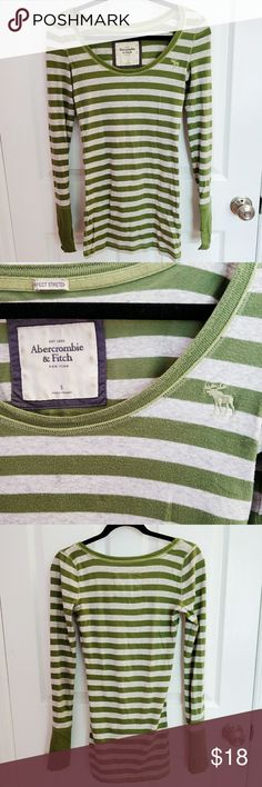 🌟SALE🌟 A&F Green Striped Long Sleeve Comfy and super stretchy long sleeved tee with green and light gray stripes from Abercrombie & Fitch. Pre-loved so shows signs of wear (see photos). Offers welcomed Abercrombie & Fitch Tops Tees - Long Sleeve