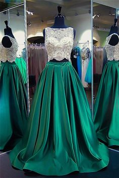Princess Scoop Neck Satin Tulle Sweep Train Beading Two Piece Green Prom Dress Prom Dresses Two Piece, Prom Dresses 2018, Elegant Prom Dresses, Prom Dresses For Sale, Ball Dresses, Evening Dresses, Dresses Dresses, Satin Cocktail Dress, Cocktail Dresses