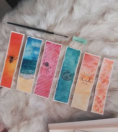 Creative Bookmarks, Cute Bookmarks, Bookmark Craft, Bookmark Ideas, Watercolor Bookmarks, Watercolor Art, Arte Sketchbook, Book Markers, Art Plastique