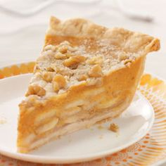 """Crumb-Topped Apple & Pumpkin Pie """"This special recipe combines all the warm, delicious flavors of the season and makes a truly unique presentation. It gets rave reviews each year and has become a holiday tradition at our house."""""""
