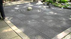Japanese Zen garden gravel raking checkers - YouTube
