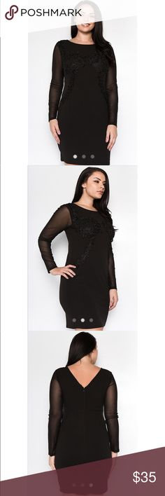 Spotted while shopping on Poshmark: Curvy Black Applique Dress with Mesh Sleeves! #poshmark #fashion #shopping #style #Dresses & Skirts