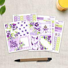 Violet Dreams - Mini Kit planner stickers (5 sheets) - for Happy Planner and Erin Condren Erin Condren, Life Planner, Happy Planner, Planner Stickers, Watercolor Artwork, Permanent Marker, Gel Pens, Pansies, Sharpie