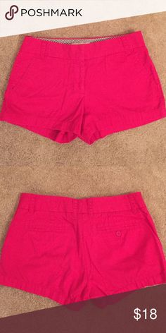 "J Crew broken in chino shorts 3"" inseam J Crew broken-in chino shorts 3"" inseam. Comfortable material, magenta/pink color, not faded. Wrinkled from being folded in drawer. Side pockets, front zip. J. Crew Shorts"