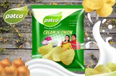 Patco Wednesday Special cream 'N' Onion Chips with No Trans fat, No Cholestral, no MSG just tasty and heathly