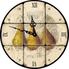 Pear Decoupaged Clock - using roman numerals on the quarter hour and design for other hours!