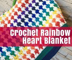 FB manta de ganchillo Corazón del arco iris