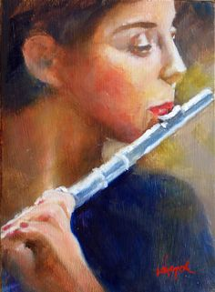 playing her flute