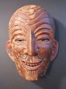 Indonesian Masks | ... antique-asian-tribal-mask-wood-carved-indonesian-vtg-museum-export-art
