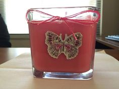 8 oz double scented glass candle. Over 25 scents to choose from and made to order. These are so cute they will fit in with any decor. #candles #doublescented #glassjar #victoriasecrettype #bathandbodyworkstype #gifts #handmade